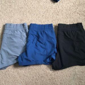 Three pairs of athleisure shorts